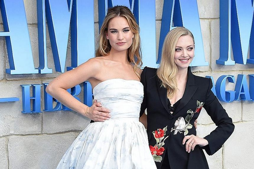 Mamma Mia! Here We Go Again stars Lily James (left) and Amanda Seyfried at its world premiere in London on Monday.