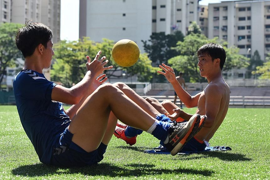Albriex Niigata midfielder Hiroyoshi Kamata (far left) and defender Kaishu Yamazaki during training at Jurong East Stadium. There has been no let-up in intensity by the two-time defending champions since the season began. They have won 16 straight ga