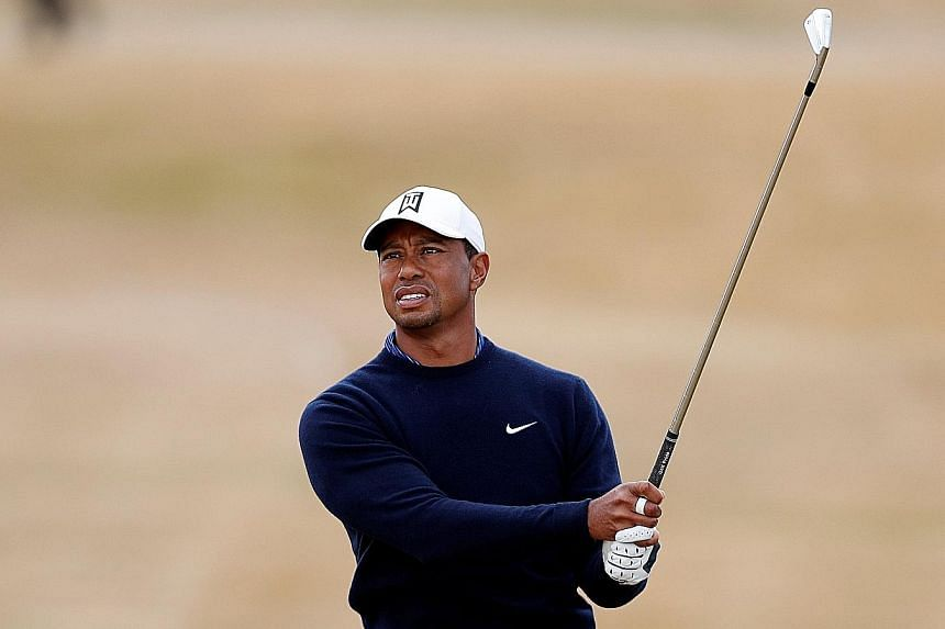 Three-time British Open winner Tiger Woods during his practice round yesterday at Carnoustie.