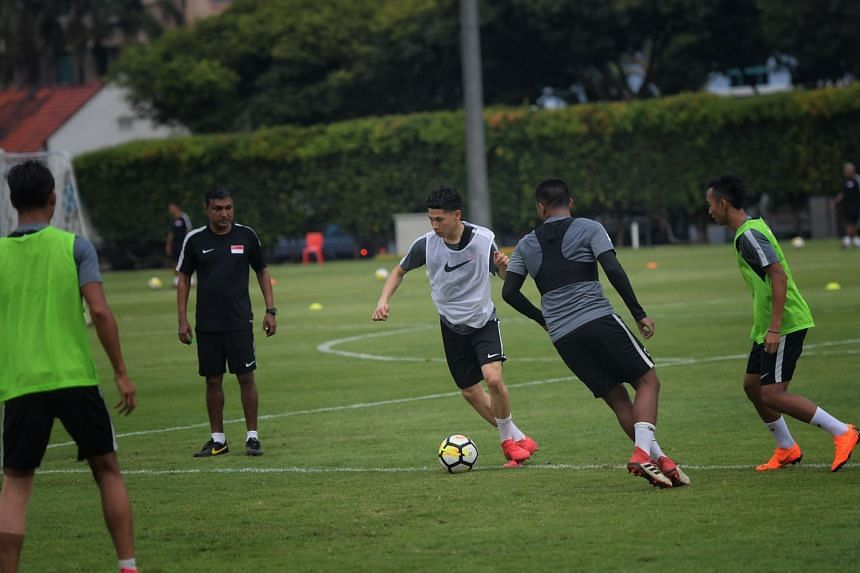 Ben Davis on the ball during Singapore national football team training in March 2018 under then national coach V. Sundram Moorthy.
