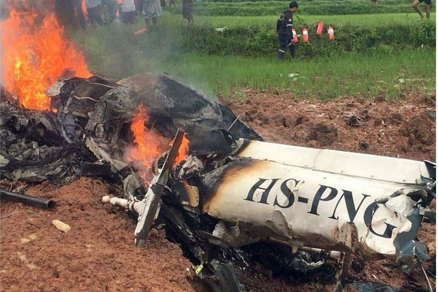 A helicopter crashed in north-eastern Thailand before landing on July 18, 2018.