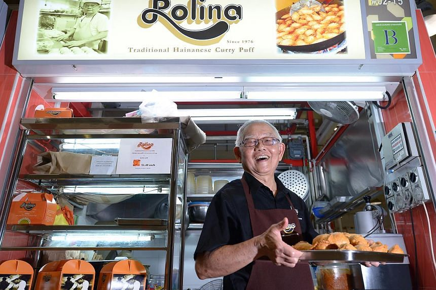 Mr Tham Niap Tong of Rolina Curry Puff. He has two Rolina Curry Puffs outlets, one at Serangoon Gardens and one at Tanjong Pagar Plaza. He started selling curry puffs by the roadside at Novena Church, which was how Rolina – a mispronunciation of No