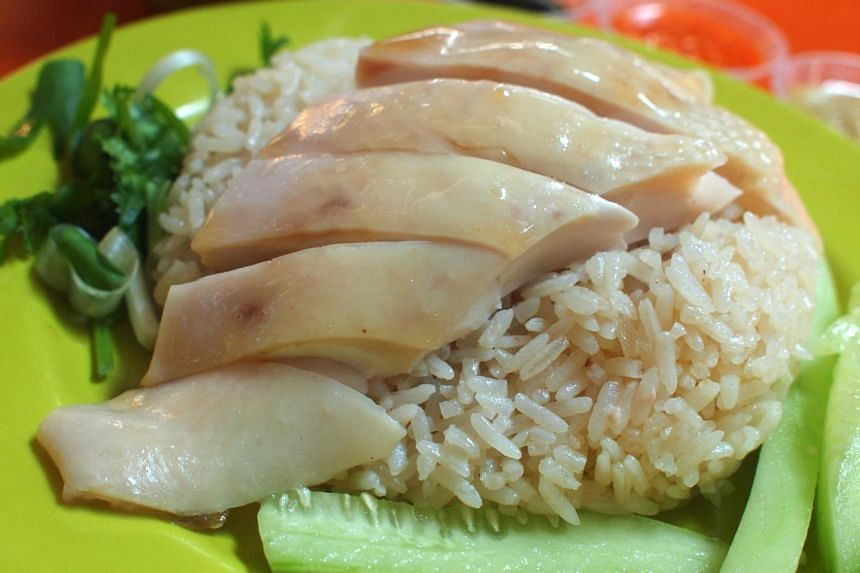 Chicken rice from Tian Tian Hainanese Chicken Rice.