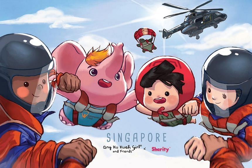 Sharity, the mascot of Community Chest, and Ang Ku Kueh Girl are depicted in the cards alongside NDP crowd favourites, such as the SAF's Red Lions and the RSAF's Black Knights.