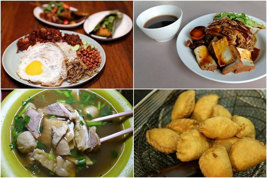 Four new entrants to the Bib Gourmand list include (clockwise from top left) nasi lemak from The Coconut Club in Club Street, braised duck rice from Chuan Kee Boneless Braised Duck at Ghim Moh Market & Food Centre, curry puffs from Rolina Traditional