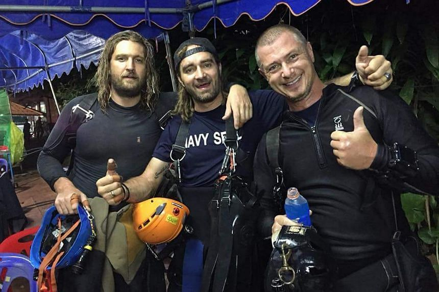 Long-time diving school partners Erik Brown (left) and Mikko Paasi (centre), and Danish diver Claus Rasmussen participated in the Tham Luang cave complex rescue with a team of 15 others, including British divers and Thai Navy Seals.
