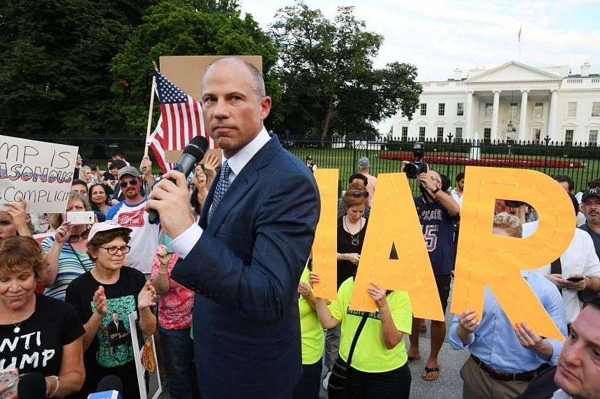 As protesters blew whistles and banged drums, lawyer Michael Avenatti took his anti-Trump campaign with a small but noisy demonstration outside the White House.