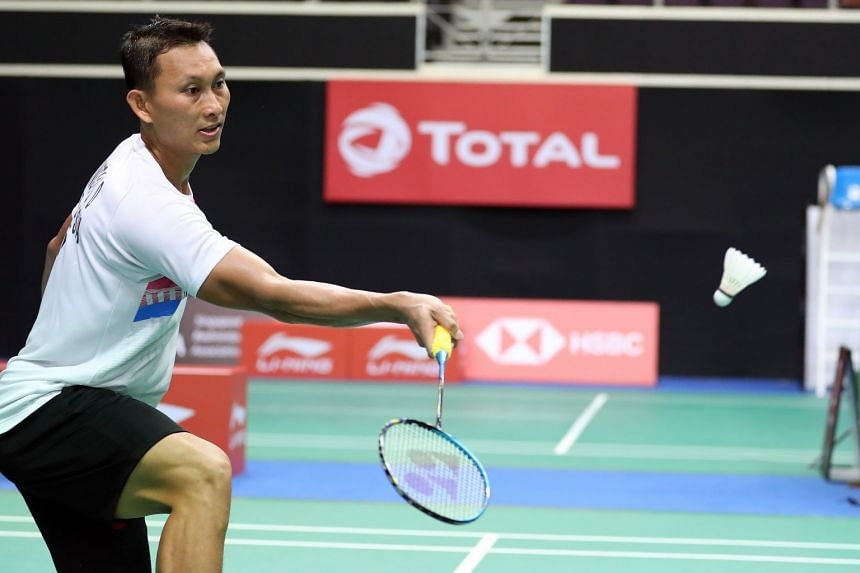 The 2016 Singapore Badminton Open champion, Indonesia's Sony Dwi Kuncoro, at the Singapore Open 2018.