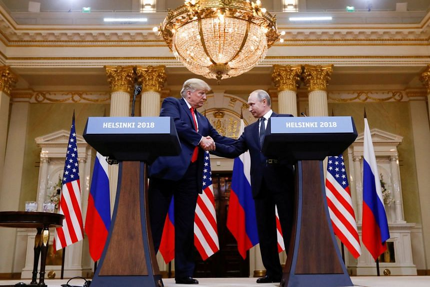 US President Donald Trump and his Russian counterpart Vladimir Putin at a news conference after they met in Helsinki on Monday. On allegations of Russian meddling in the 2016 polls, Mr Trump said he did not see any reason why Russia would interfere,