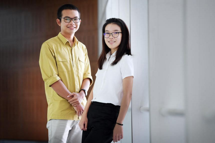 Mr Abdul Qayyum Mohamed Fazil (left), 19 and Miss Tan Seet Ynn, 19, are recipients of scholarships from the Public Service Commission (PSC) on July 18, 2018.