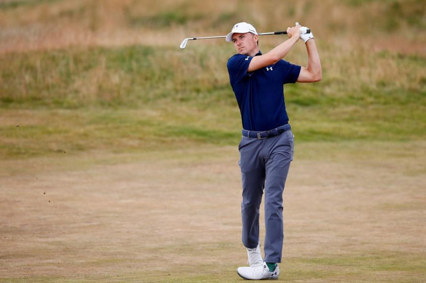 Jordan Spieth of the US in action during the practice round on July 17, 2018.