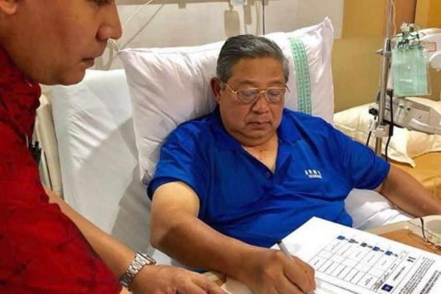 Democratic Party founder Susilo Bambang Yudhoyono's wife Ani posted on Instagram a photo of her husband working from his hospital bed at the Gatot Subroto Army Hospital in Jakarta.