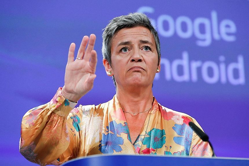 "EU anti-trust chief Margrethe Vestager denied any anti-US bias, saying: ""Just as enforcing competition law, we do it in the world, but we do not do it in political context."""