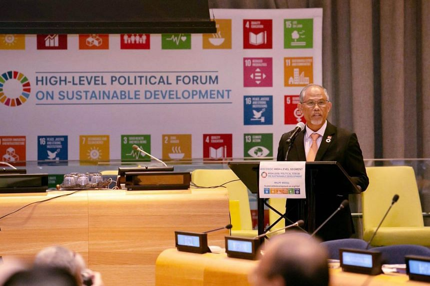 """Minister for the Environment and Water Resources Masagos Zulkifli also highlighted Singapore's """"wastewater superhighway"""", the Deep Tunnel Sewerage System, to collect and transport wastewater during his presentation at the High-Level Political Forum o"""