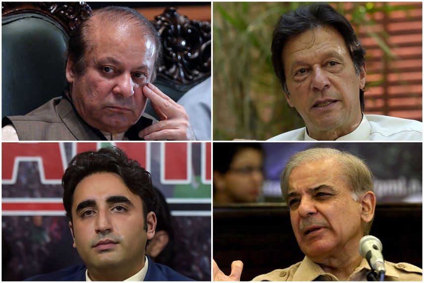 (Clockwise from top left) Nawaz Sharif, Imran Khan, Shahbaz Sharif and Bilawal Bhutto Zardari, as well as the military, are the main players in the polls.