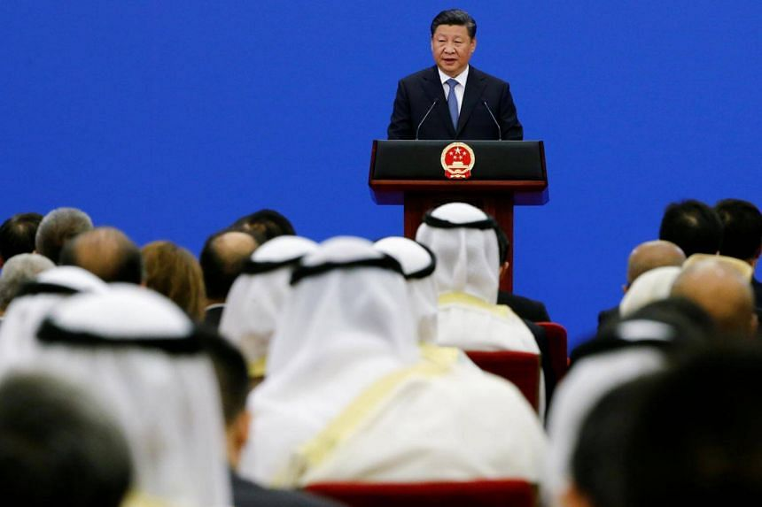 Chinese President Xi Jinping speaks to representatives of Arab League member states at a China Arab forum at the Great Hall of the People in Beijing, on July 10, 2018.
