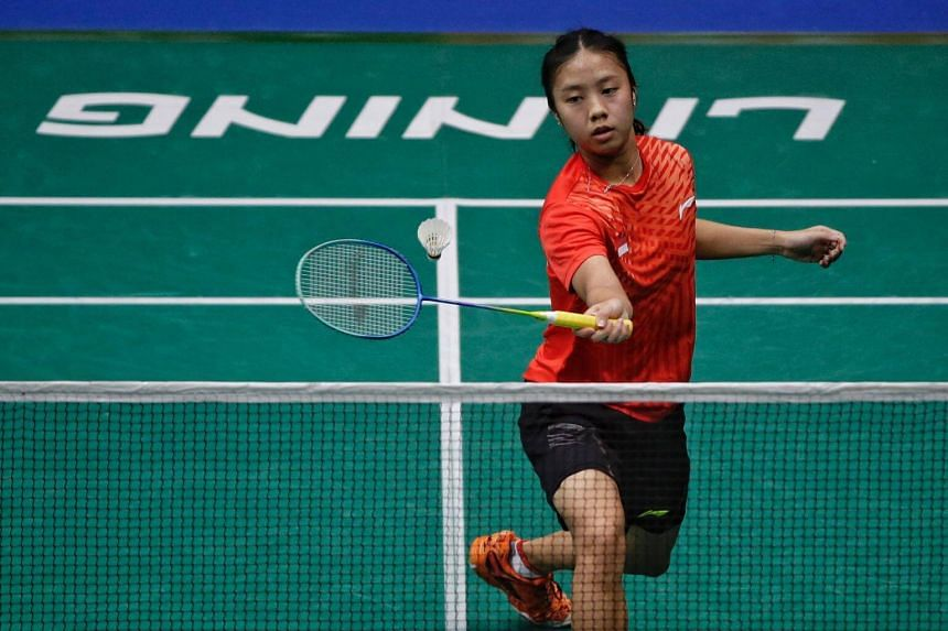 Singapore's Yeo Jia Min in action during the  women's singles opening round match of the Singapore Badminton Open at the Singapore Indoor Stadium, on July 18, 2018.