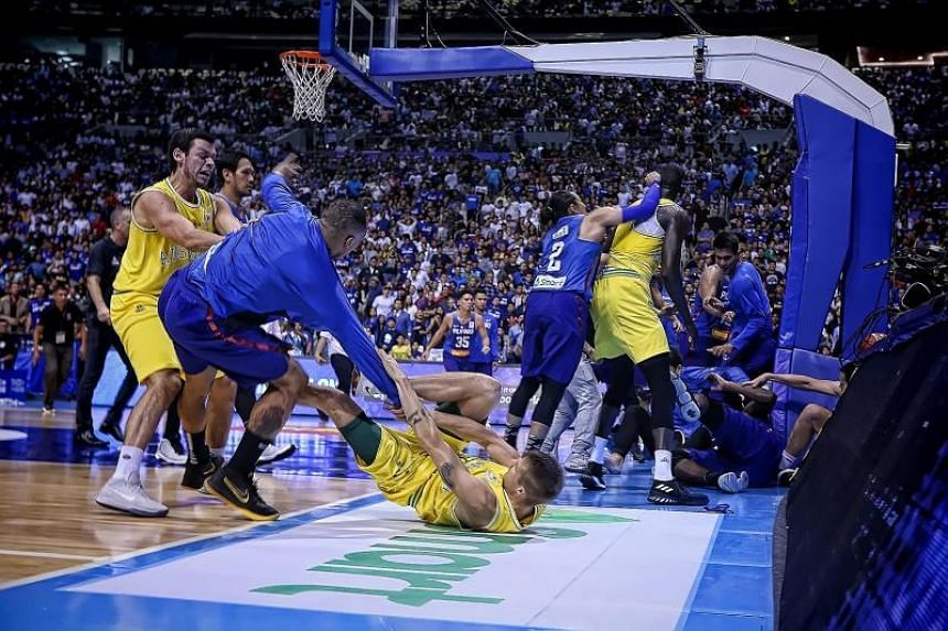 A general shot of the brawl between Philippine and Australian players during their FIBA World Cup Asian qualifier game at the Philippine arena in Bocaue town, Bulacan province, north of Manila, on July 2, 2018.