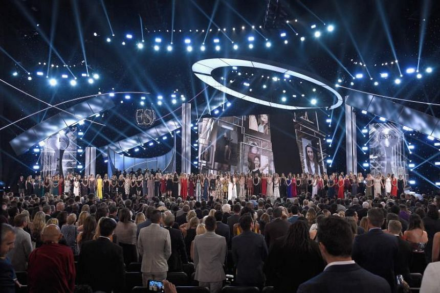 More than 140 survivors of sexual abuse by former USA Gymnastics team coach Larry Nassar joined hands on stage in a moving finale to the 2018 ESPYs.
