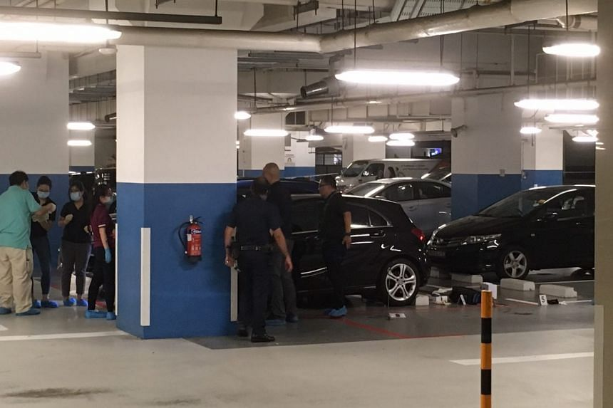 When The Straits Times visited the site on Thursday at about 9.30pm, the entire carpark area had been cordoned off and the victim's body had not been removed.