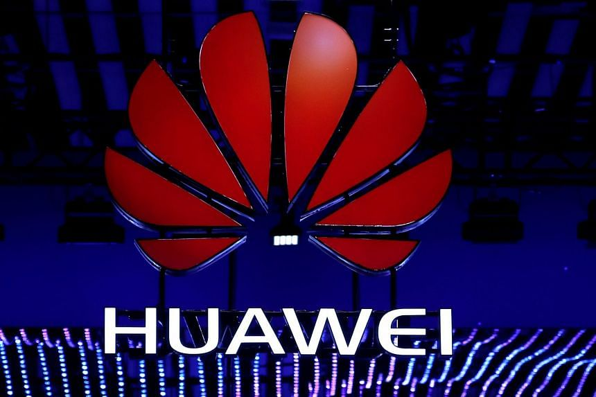 The Huawei logo is seen during the Mobile World Congress in Barcelona, Spain.