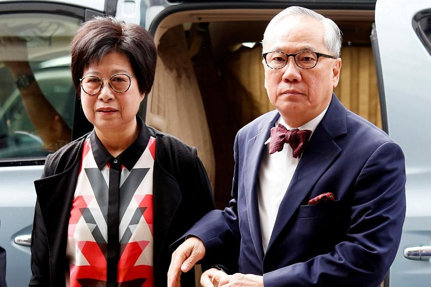Former Hong Kong Chief Executive Donald Tsang and his wife Selina arriving at the High Court for his appeals court judgment on a misconduct charge in Hong Kong on July 20, 2018.