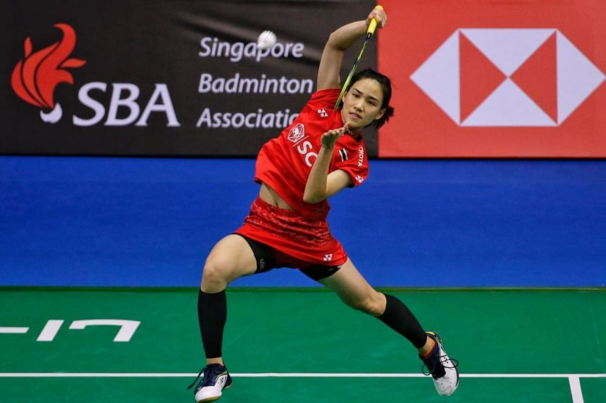 Thailand's Nitchaon Jindapol smashing against Chinese Taipei's Chen Su-yu in the Singapore Badminton Open women's singles quarter-finals at the Singapore Indoor Stadium on July 20, 2018.