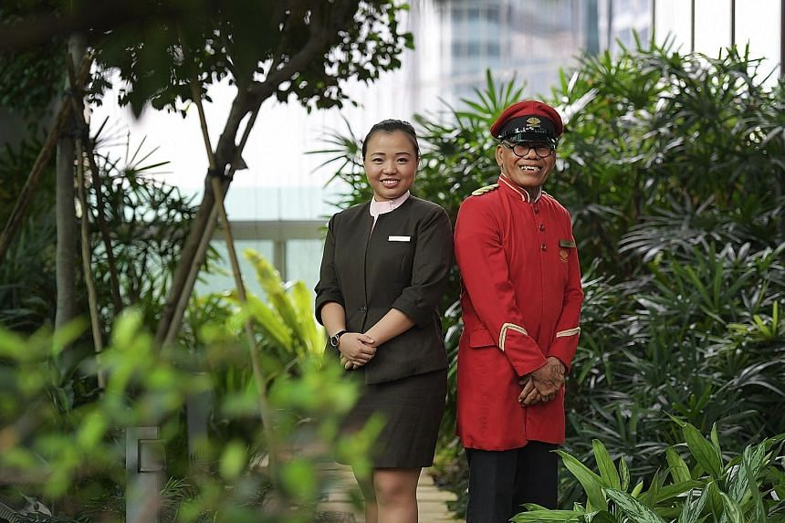 Mandarin Oriental doorman Mohamed Taspir Ahmad and The Regent Singapore club officer Ng Li Ting are among 86 who won Employee of the Year awards yesterday.