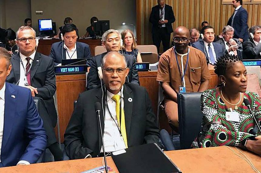 Minister for the Environment and Water Resources Masagos Zulkifli at the High-Level Political Forum on Sustainable Development in New York yesterday. Singapore was one of 47 countries presenting Voluntary National Reviews at the event.