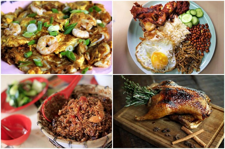 (Clockwise from top left) Carrot cake with prawn and oyster omelette from Heng Carrot Cake, signature nasi lemak from The Coconut Club, Bar-Roque Bar & Grill's rotisserie duck, and claypot rice from New Lucky Claypot Rice.
