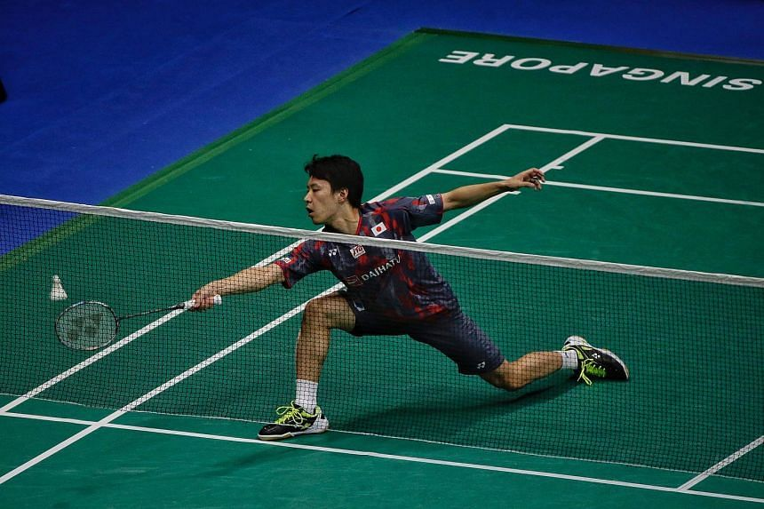 Yu Igarashi in action during the men's singles opening round of the Singapore Badminton Open at Singapore Indoor Stadium, on July 18, 2018.