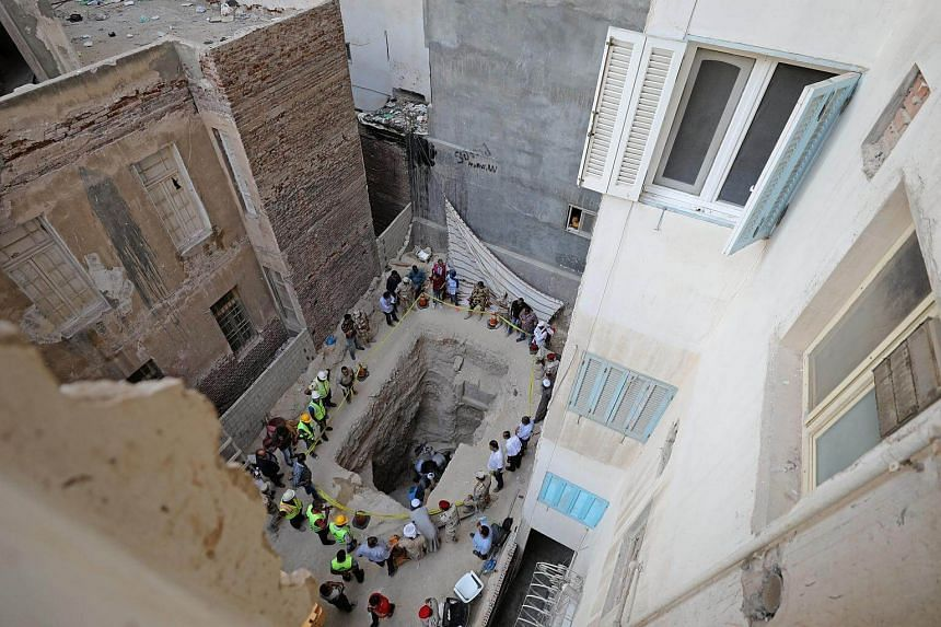The residential area where a coffin containing three mummies was discovered in Alexandria, Egypt on July 19, 2018.