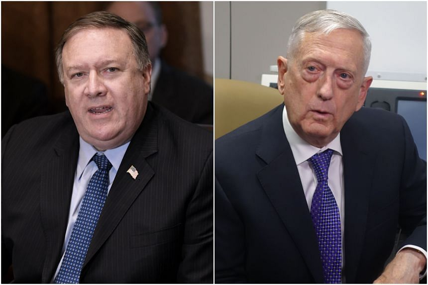 US Secretary of State Mike Pompeo (left) and Defence Secretary James Mattis will hold talks with India Foreign Minister Sushma Swaraj and Defence Minister Nirmala Sitharaman in New Delhi, on Sept 6, 2018.