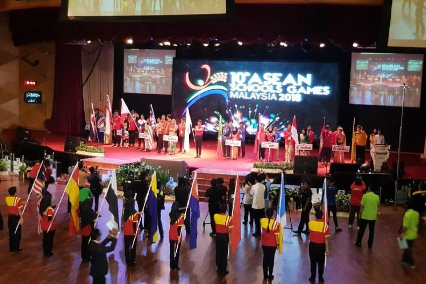 The opening ceremony of the 10th Asean Schools Games held on July 20, 2018 in Shah Alam, Malaysia at the Universiti Teknologi MARA campus.