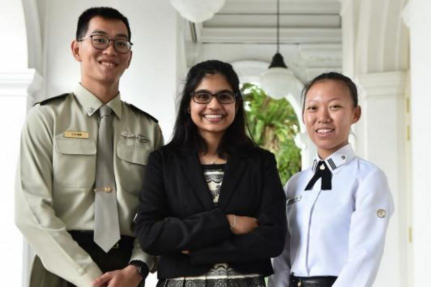 Lieutenant Kew Yi Hong, 22, Miss Keloth Sonia Nair, 19 and Midshipman Audrey Tey, 19, are scholarship recipients of the Singapore Armed Forces and Ministry of Defence scholarships.