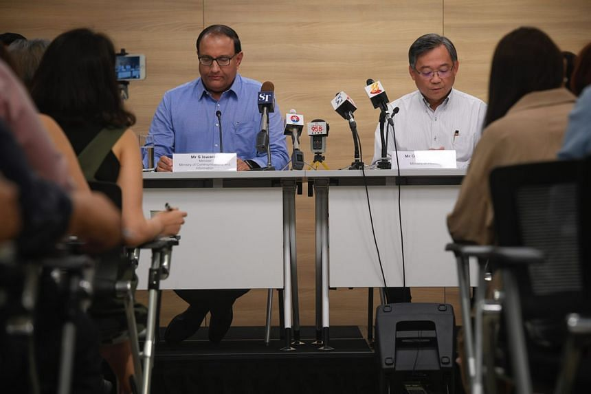 Minister for Communications and Information S. Iswaran (left) and Health Minister Gan Kim Yong  at the press conference regarding the SingHealth cyber attack, on July 20, 2018. Mr Iswaran will convene a Committee of Inquiry to establish events and fa