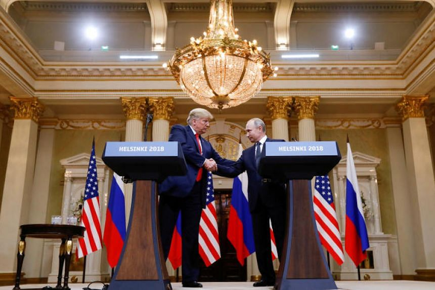 US President Donald Trump and Russia's President Vladimir Putin at a joint news conference after their meeting in Helsinki, Finland, on July 16, 2018.