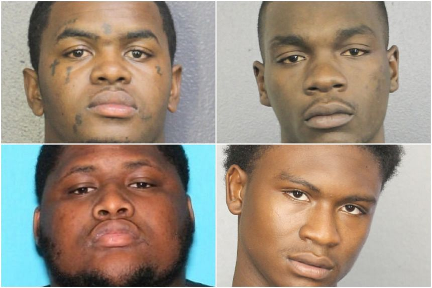 Clockwise from top left: Dedrick Williams, 22, Michael Boatwright, 22, Trayvon Newsome, 20, and Robert Allen, 22, were indicted on charges of first-degree murder with a firearm and armed robbery with a firearm.