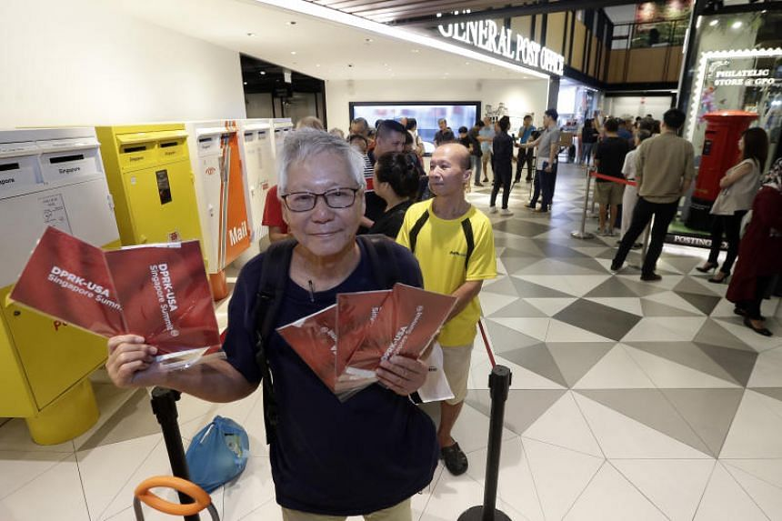 Mr Lim Hong bought five sets of commemorative Trump-Kim Summit stamps at the SingPost Centre on July 20, 2018.