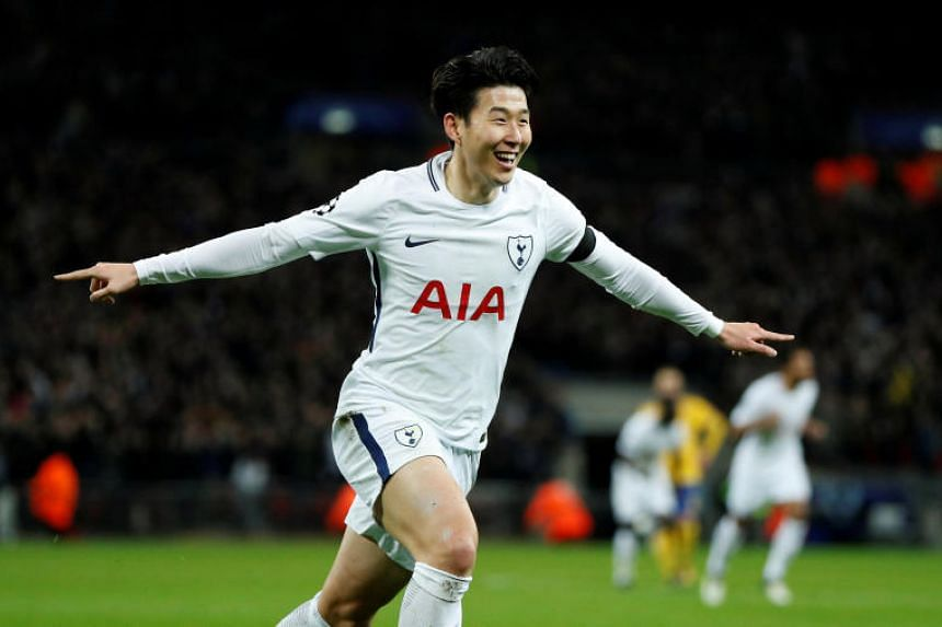 Tottenham's Son Heung-min celebrates scoring against Juventus in the Champions League at Wembley Stadium, Britain, on March 7, 2018.