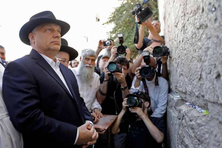 Hungarian Prime Minister Viktor Orban visits the Western Wall in Jerusalem's Old City, on July 20, 2018.