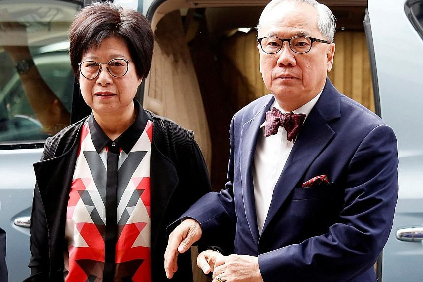 Hong Kong's former chief executive Donald Tsang and his wife Selina arriving at the High Court yesterday for his appeals judgment hearing on a misconduct charge. He had been released on bail last year after two months in prison, pending the appeal, b