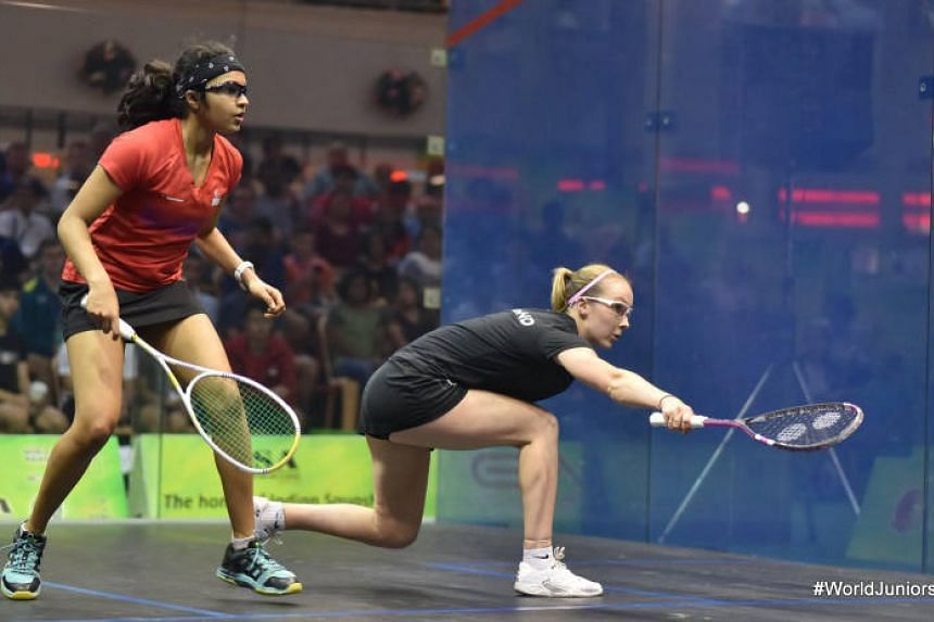 Singapore squash player Sneha Sivakumar's (left) giant-killing run at the World Junior Squash Championships in Chennai ended with a defeat by England's third-seed Lucy Turmel in the quarter-final.
