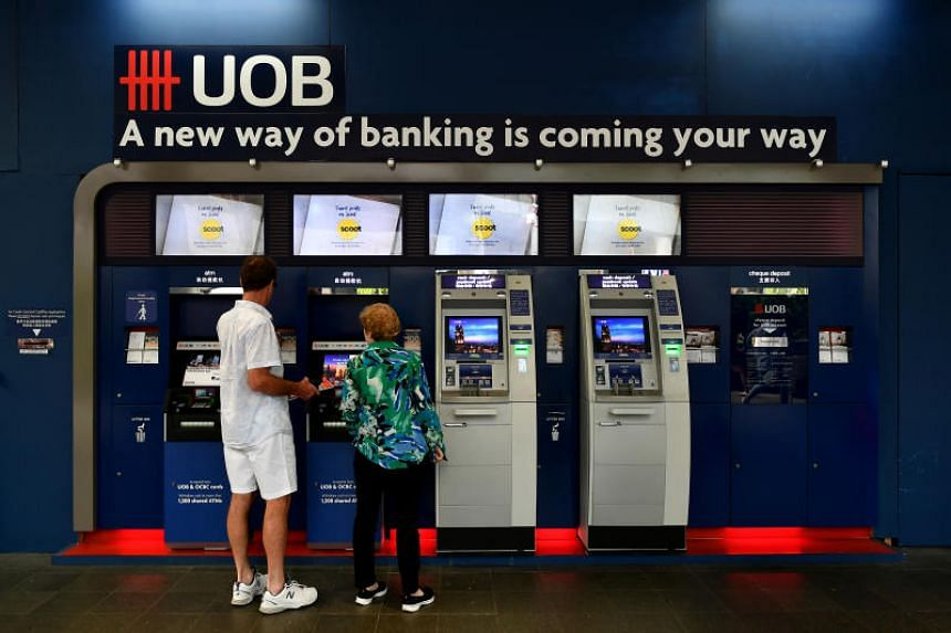 A generic photograph of a UOB ATM and cash deposit machines at Faber House on March 23, 2018.