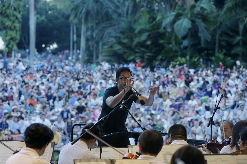 File photo showing the Singapore Symphony Orchestra performing at last year's Concert in the Gardens. They will be performing at this year's event as well, presenting an hour-long showcase that begins at 6.15pm.
