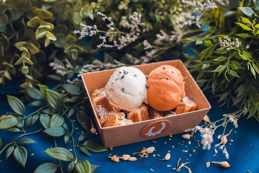 Coming with two scoops of ice cream on a bed of waffle cubes and topped with dried lavender, choose from four flavours of ice cream at Udders ice cream and wafflets ($6.50).