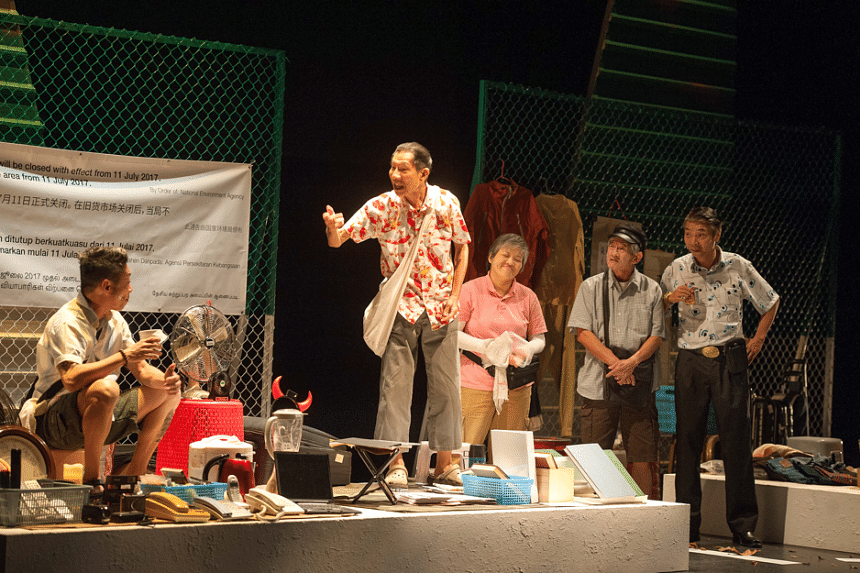From left: Actors Ong Kian Sin, Yong Ser Pin, Tan Beng Tian, Michael Tan and Tay Kong Hui performing their roles in One Metre Square: Voices From Sungei Road, at The Singapore Airlines Theatre at Lasalle College of the Arts.