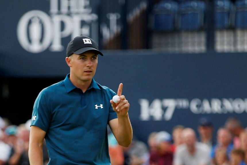 Jordan Spieth of the US reacts on the 18th during the third round.