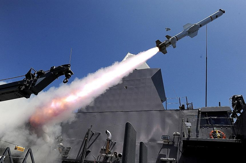 One of two Harpoon missiles launched from the Republic of Singapore's Formidable-class frigate RSS Tenacious during Exercise Rimpac, an international maritime drill taking place in the waters off Hawaii from June 28 to Aug 3.