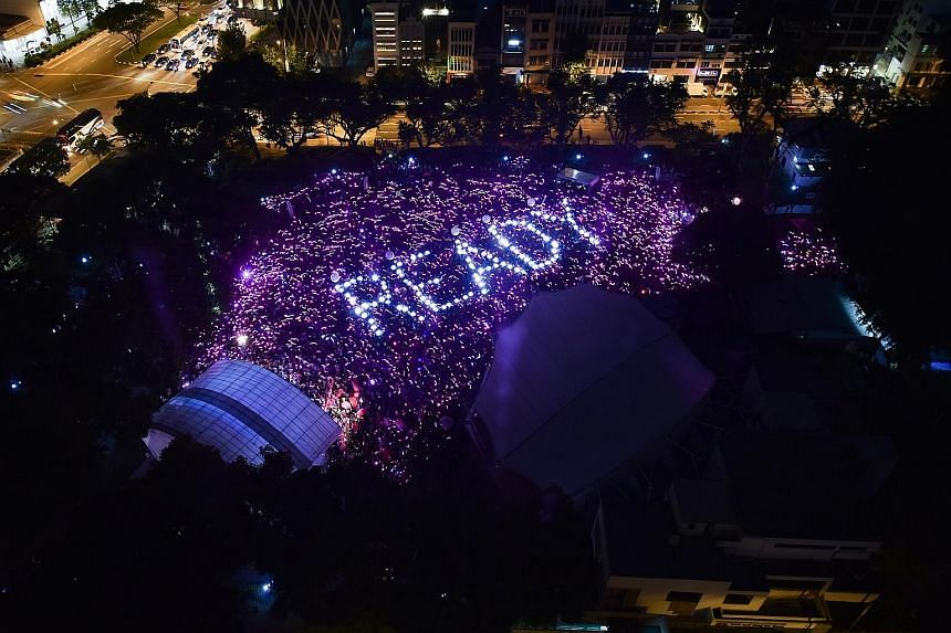 An aerial view of the pink dot that was formed during Pink Dot at Hong Lim Park yesterday. Close to 200 volunteers were involved in the organisation of the lights.